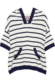 Juicy Couture Striped cotton and cashmere-blend hooded top