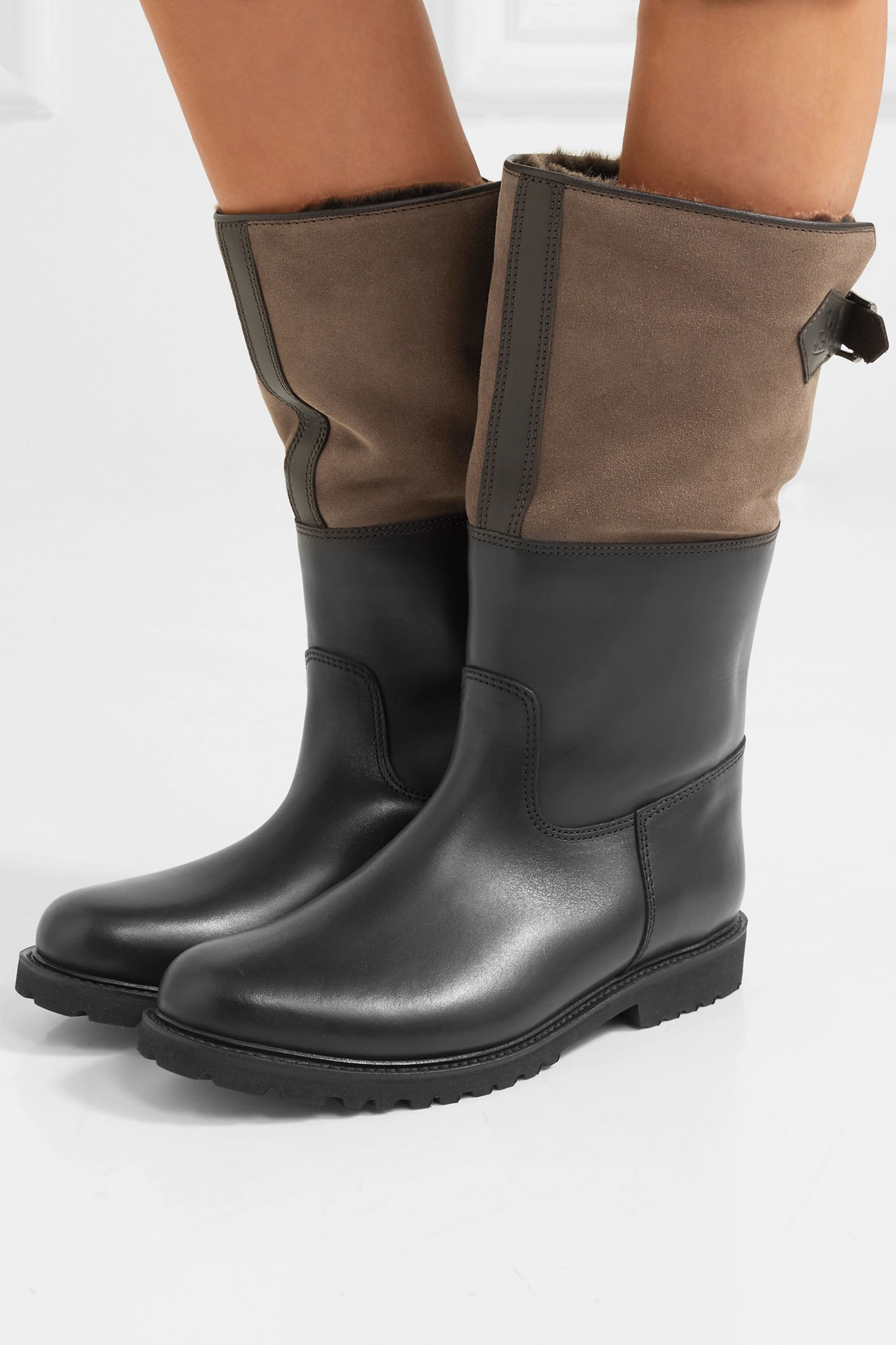 Ludwig Reiter Maronibraterin leather and suede knee boots