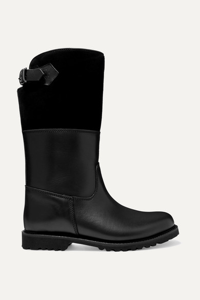LUDWIG REITER Maronibraterin Shearling-Lined Leather And Suede Boots in Black