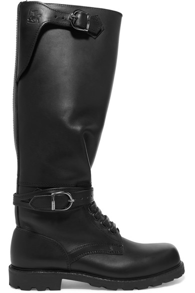 LUDWIG REITER Husaren Distressed Leather Knee Boots in Black