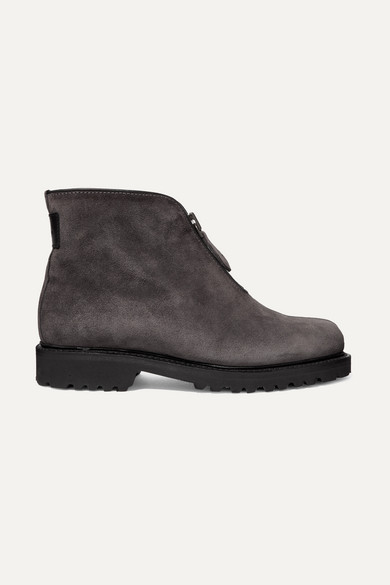 LUDWIG REITER Après Ski Shearling-Lined Suede Ankle Boots in Gray