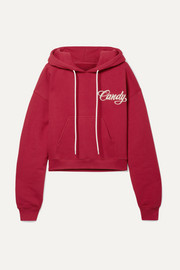 Adaptation Cropped embroidered cotton-jersey hoodie