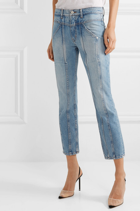 Rider cropped paneled high-rise skinny jeans