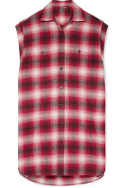 Adaptation Oversized checked cotton-flannel shirt