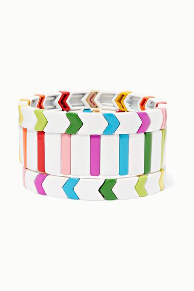 ROXANNE ASSOULIN Fresh Start Set Of Three Enamel Bracelets in White