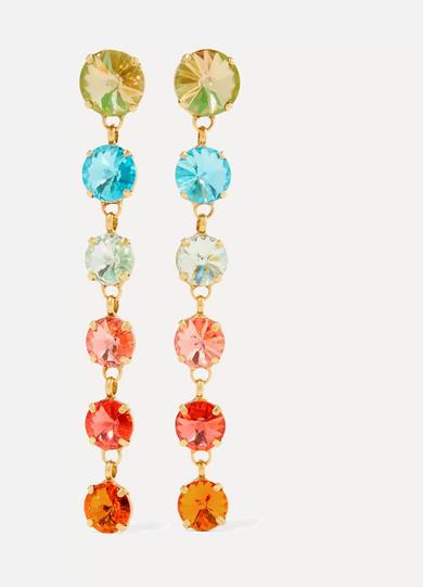 ROXANNE ASSOULIN Technicolor Gold-Tone Swarovski Crystal Earrings in Orange