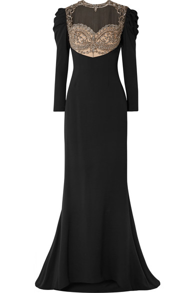 REEM ACRA Embellished Tulle And Silk-Cady Gown in Black
