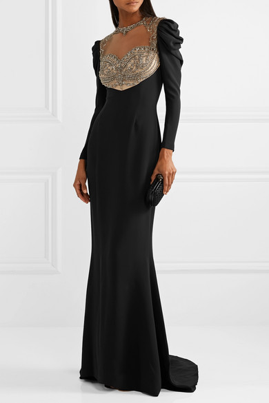 Embellished Tulle And Silk Cady Gown by Reem Acra