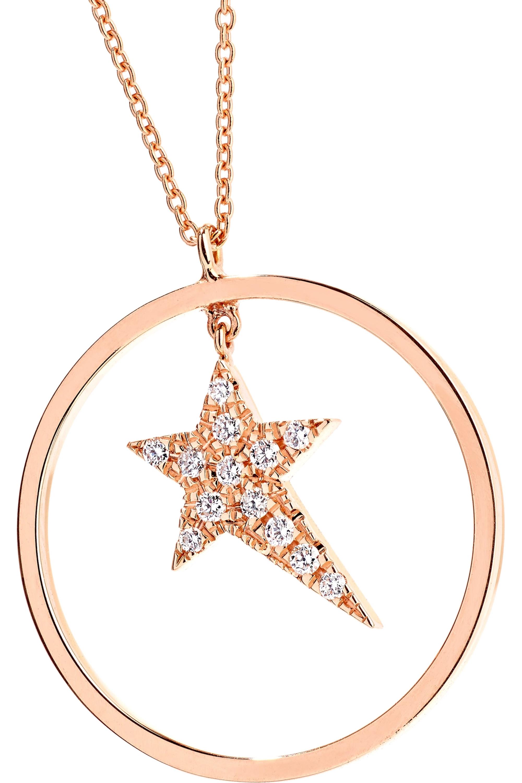 Diane Kordas Star Charm Kette aus 18 Karat Roségold mit Diamanten