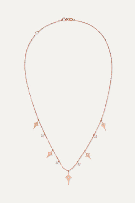 Rose gold Shield 18-karat rose gold diamond necklace | Diane Kordas K8egWC