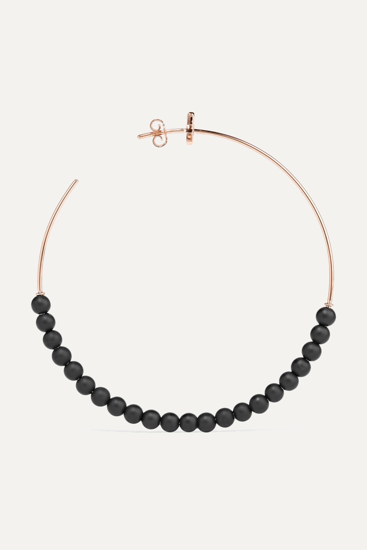 Diane Kordas Explosion 18-karat rose gold, onyx and diamond hoop earrings