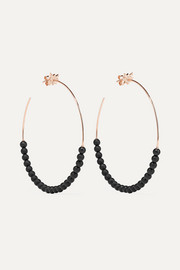 Diane Kordas Explosion 18-karat rose gold, onyx and diamond hoop earrings
