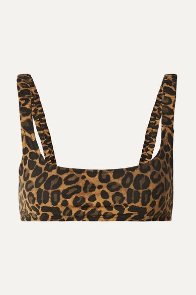 FISCH Colombier Leopard-Print Bikini Top in Leopard Print