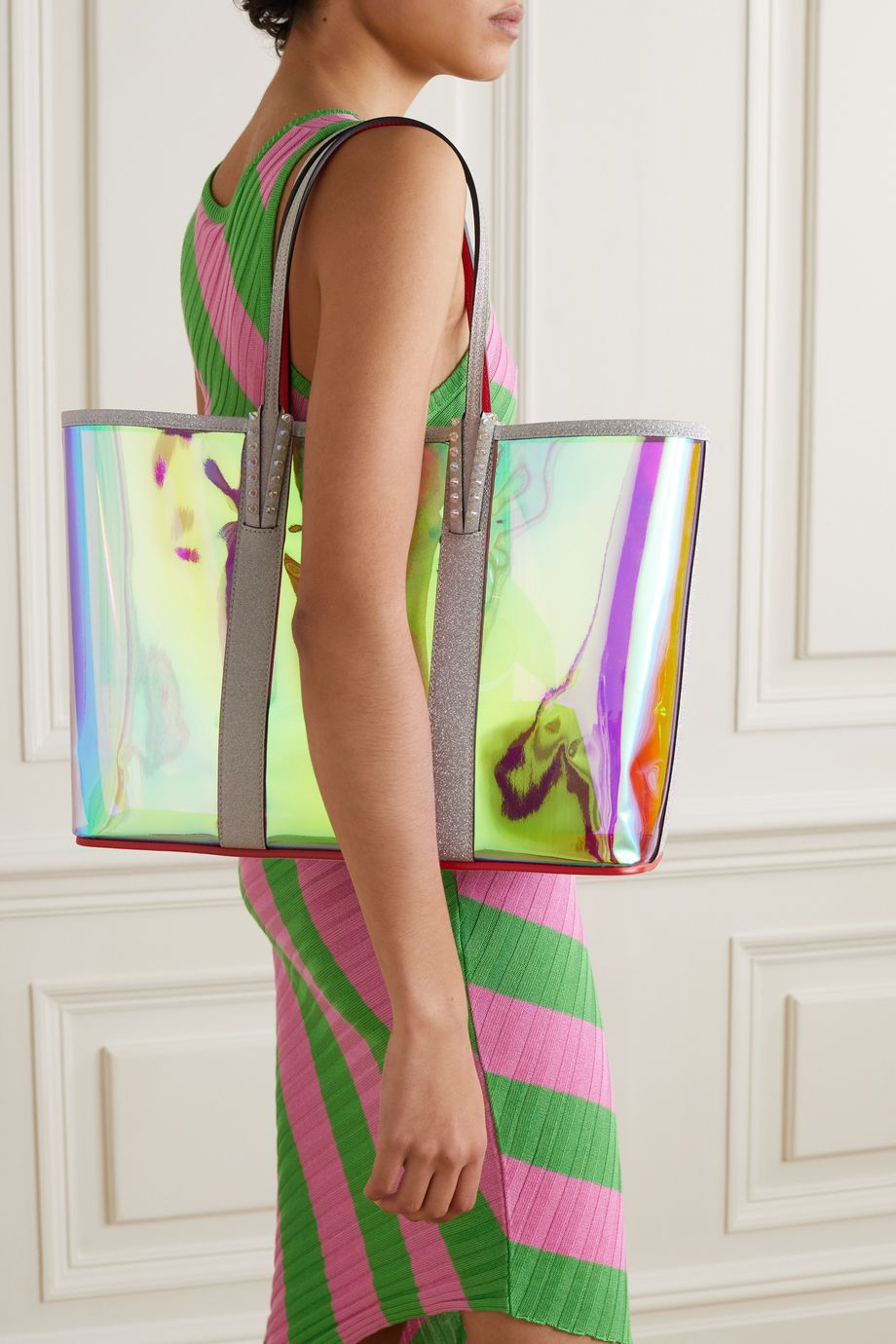Christian Louboutin Cabata spiked PVC and glittered-leather tote