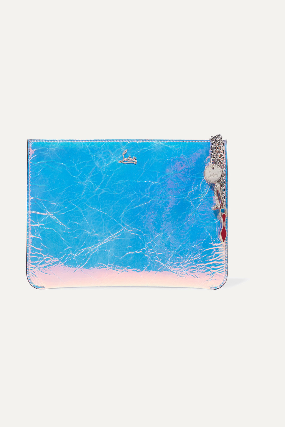 Christian Louboutin Loubicute iridescent textured-leather clutch
