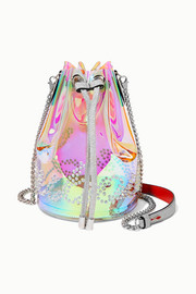 Christian Louboutin Marie Jane spiked iridescent PVC and glittered-leather bucket bag