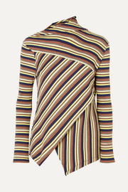 + 7 For All Mankind asymmetric striped ribbed cotton-jersey top