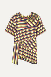+ 7 For All Mankind asymmetric striped ribbed cotton-jersey T-shirt