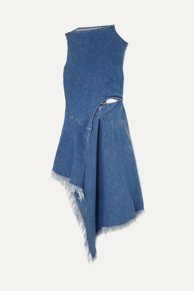 + 7 For All Mankind Asymmetric Frayed Denim Midi Dress in Mid Denim