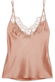Embellished Chantilly lace-trimmed silk-blend satin camisole