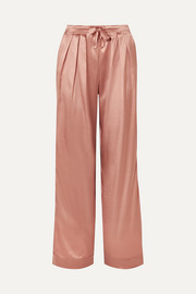 Silk-satin pajama pants