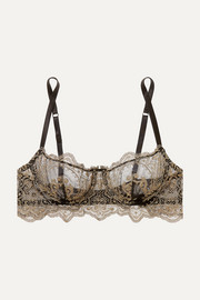 Embroidered tulle underwired balconette bra