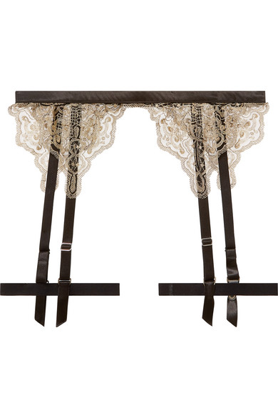 Embroidered Tulle And Satin Suspender Belt in Black