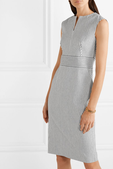 Max Mara Dresses Caraffa striped stretch cotton and linen-blend dress