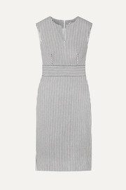 Caraffa striped stretch cotton and linen-blend dress