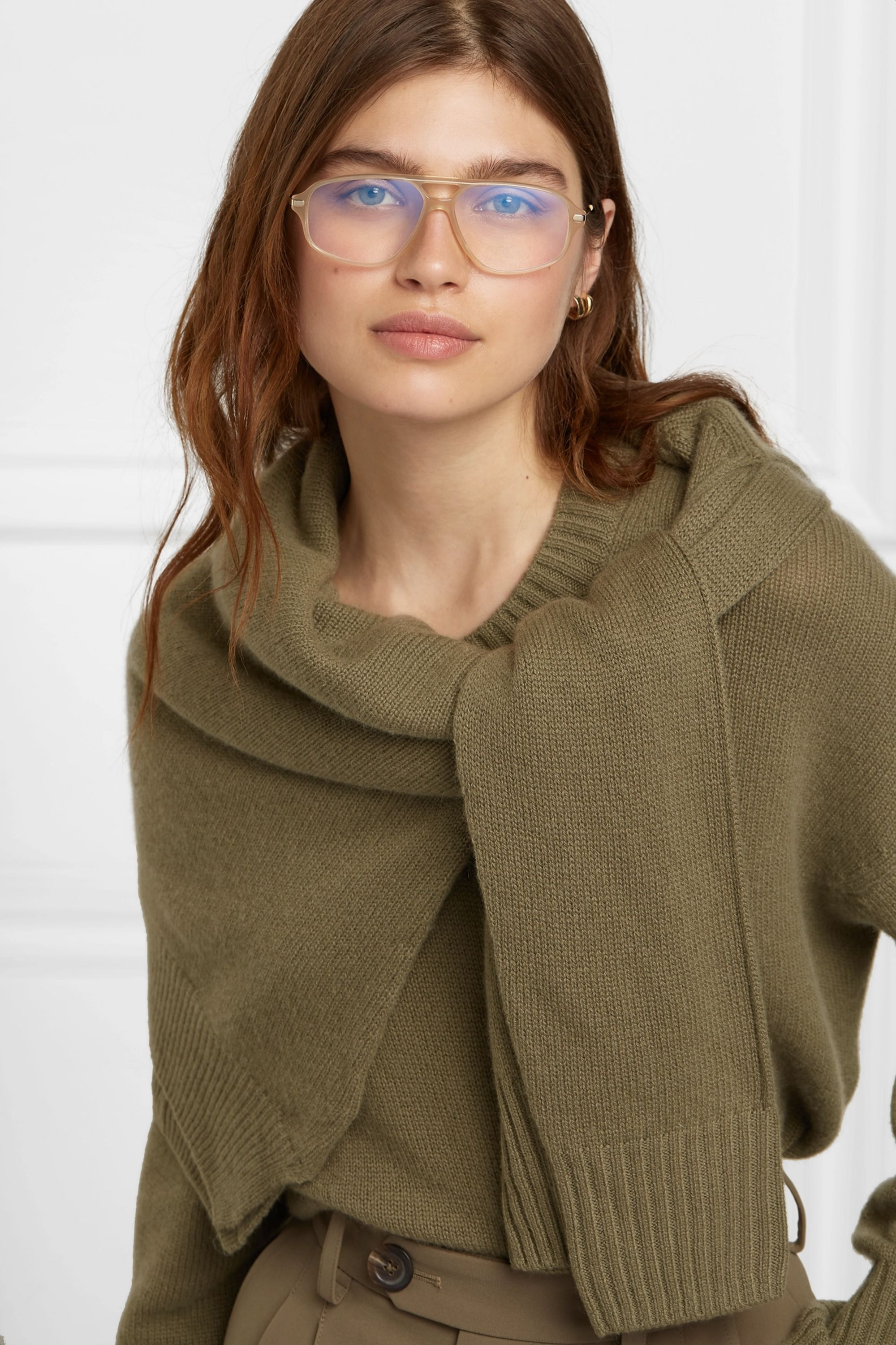 Chloé Aviator-style acetate and gold-tone optical glasses