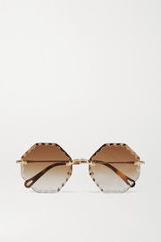 Octagon-frame gold-tone sunglasses