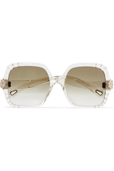 Genieße den kostenlosen Versand gutes Geschäft neue Produkte für Sonnenbrille mit eckigem Rahmen aus Azetat und goldfarbenen Details