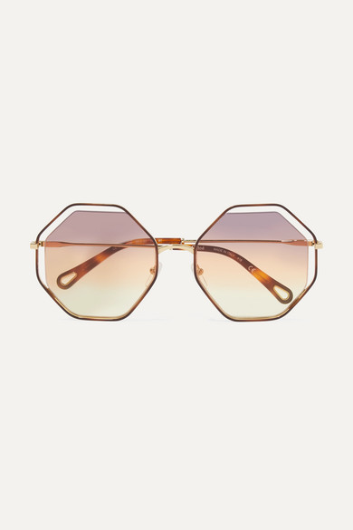 Chloé Sunglasses Poppy octagon-frame gold-tone and tortoiseshell acetate sunglasses