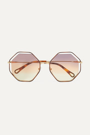 Poppy octagon-frame gold-tone and tortoiseshell acetate sunglasses