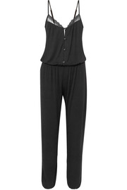 Lucie lace-trimmed stretch-modal jersey jumpsuit