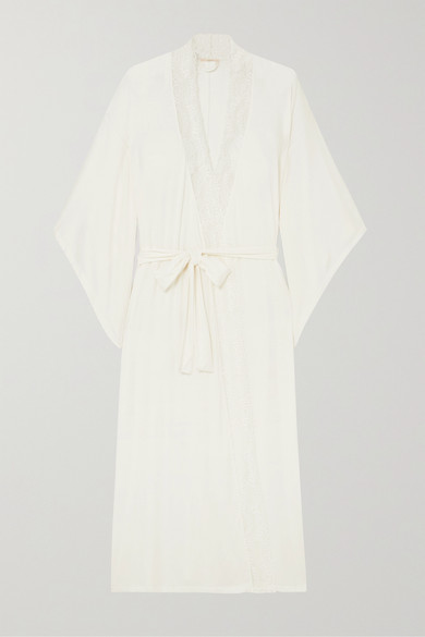 Eberjey Tops Sara lace-trimmed stretch-modal jersey robe