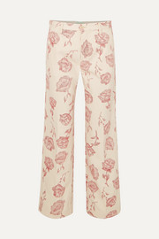 Floral-print high-rise straight-leg jeans