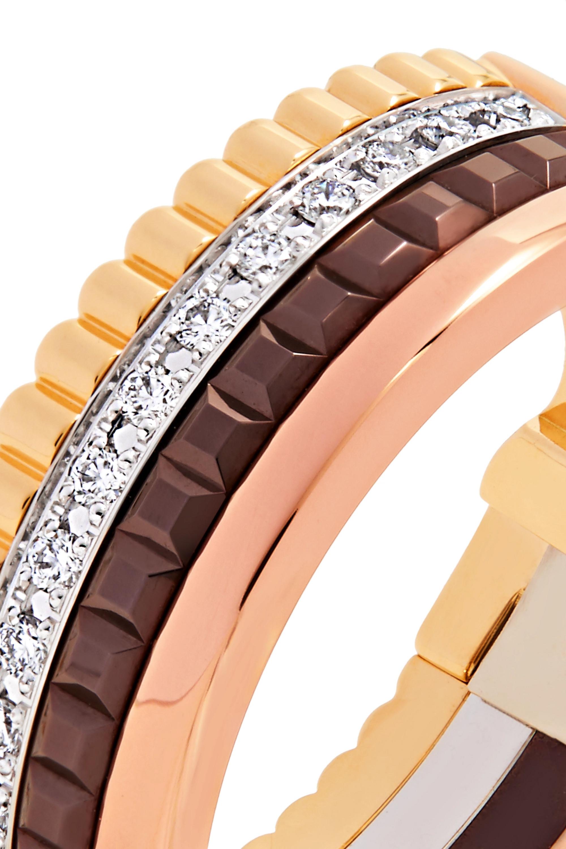 Boucheron Boucles d'oreilles en or jaune, rose et blanc 18 carats et diamants Quatre Classique