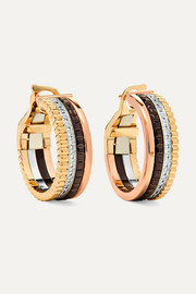 Quatre Classique 18-karat yellow, rose and white gold diamond hoop earrings