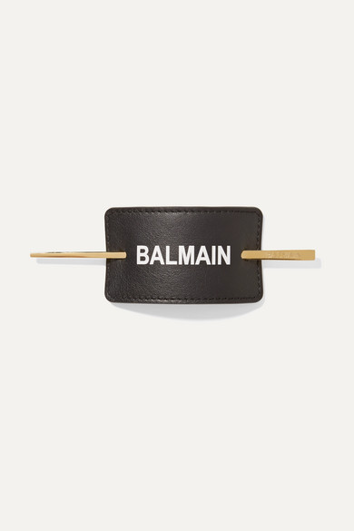 BALMAIN PARIS HAIR COUTURE Gold-Plated And Printed Leather Hair Pin in Black