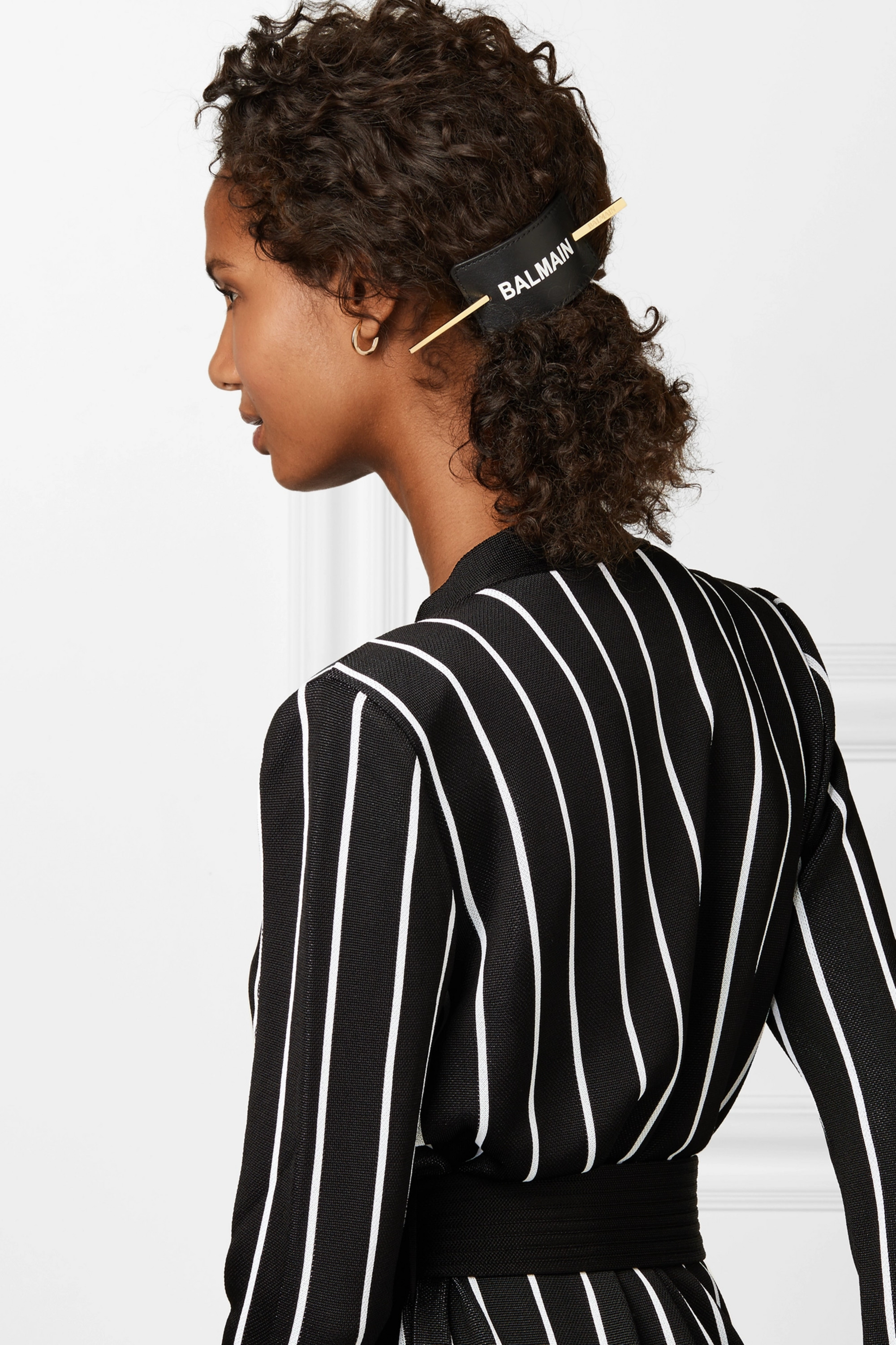Balmain Paris Hair Couture Gold-plated and printed leather hair pin