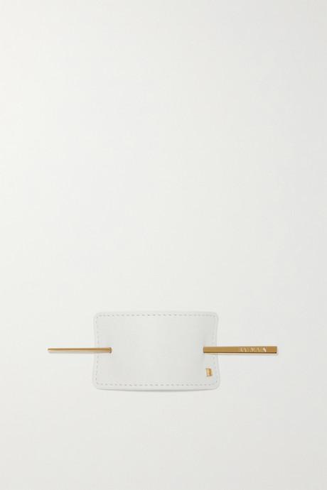 White Gold-tone and leather hairclip | Balmain Paris Hair Couture SxLI42