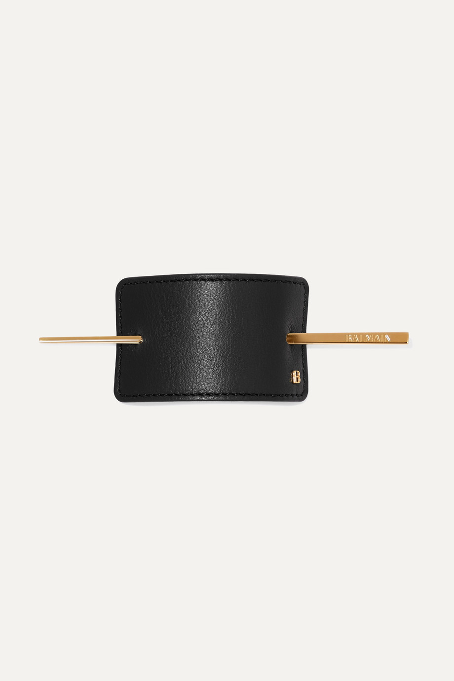 Balmain Paris Hair Couture Gold-tone and leather hairclip