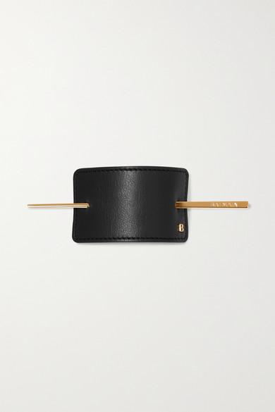 BALMAIN PARIS HAIR COUTURE Gold-Tone And Leather Hairclip - Black