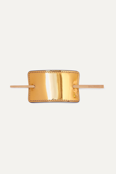 BALMAIN PARIS HAIR COUTURE Gold-Tone And Metallic Leather Hairclip - One Size