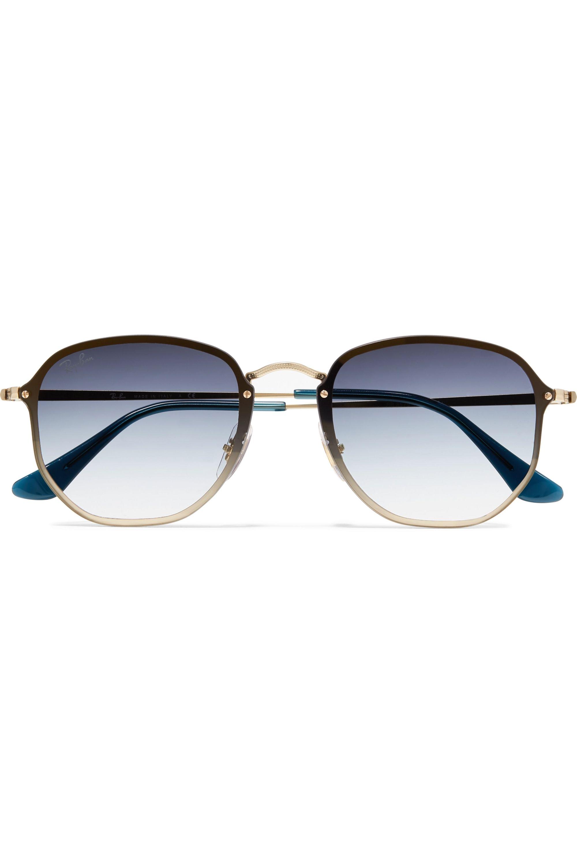 Ray-Ban Hexagon-frame gold-tone sunglasses