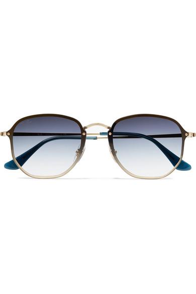 2bc8514bd8 Ray-Ban. Hexagon-frame gold-tone sunglasses