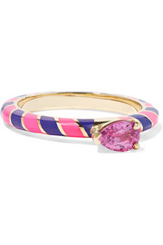 Alice Cicolini Candy 14-karat gold, enamel and sapphire ring