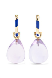 Memphis 14-karat gold, enamel and amethyst earrings