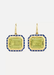 22-karat gold, sterling silver, enamel and quartz earrings